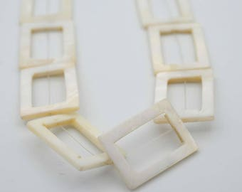 25x30mm Flat Rectangular Shape Mother of Pearl Shell bead, with Middle Hole (15x28mm)
