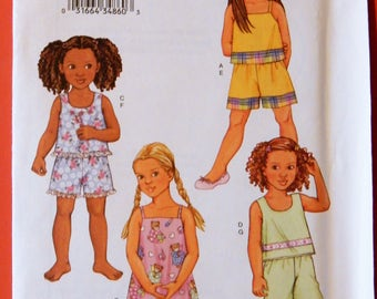 Butterick 3480 Very easy to sew little girls' pajamas and nightgown pattern Uncut Sizes 6, 7 and 8
