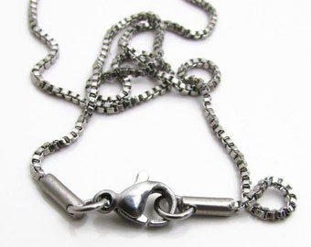 """Stainless Steel Box Chain Necklace with Lobster Clasp - Finished Necklace - 1.5mm chain - Stainless Steel Findings 18""""  or 24"""" (063)"""