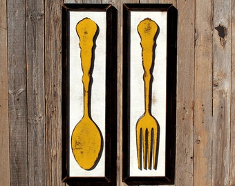 Kitchen Wooden Sign Fork Spoon Framed Set Fork Spoon Farmhouse Style Farmhouse Sign Decor Kitchen Signage Dining Room Sign Restaurant Decor