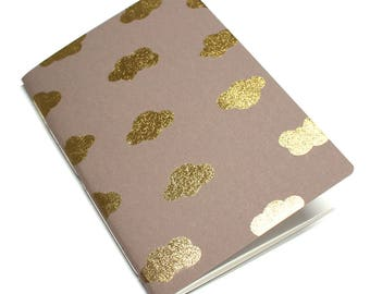 stationery, notebook, journal, diary, book, booklet, papergoods, paper, office supplies, memo, blank book - Golden Clouds