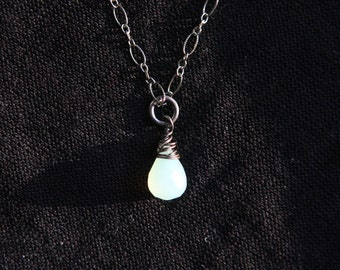 Beautiful Blue Semi Precious Chalcedony Drop on Oxidized Sterling Silver Chain with Lobster Clasp