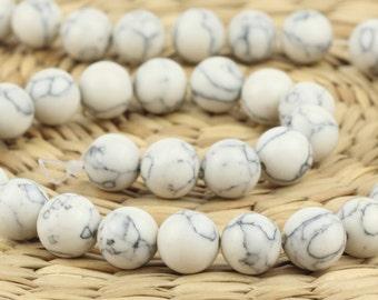 8 mm White howlite beads • Natural howlite beads • White howlite beads • 8 mm round beads • Natural round beads • White howlite beads