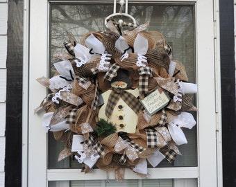 Country Winter Snowman Burlap Deco Mesh Wreath