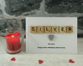SILVER wedding anniversary card, Happy anniversary, Married 25 years, Twenty five years, 25th anniversary, Congratulations, Milestone event