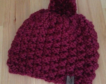 Cozy Knit Pompom Beanie in Wine