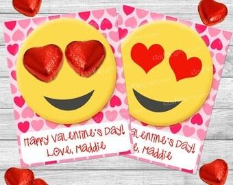 Valentine Kids Cards, EMOTICON Personalized Valentine Cards, Valentine PRINTABLE, Valentine Card for Class School Classroom Tween Girl Heart