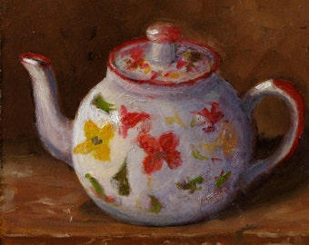 Oil On Panel - 'Teapot' Still Life Daily Painting Original Art