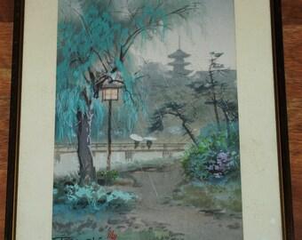 Terauchi Fukutaro watercolor of a Japanese bridge and creek in the rain