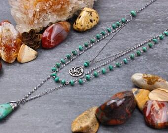 Hubei Turquoise Necklace, Long Boho Gemstone Necklace, Layering Necklace, Boho Multi Strand Necklace, Genuine Turquoise