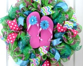 Flip flop wreath - summer wreath - pool wreath - lake wreath - pool party decorations - Pink wreath - Summer wreath for front door