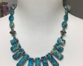 Blue sea Sediment Jasper Choker Necklace