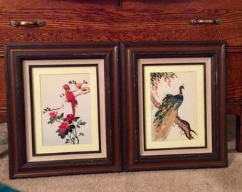 Bamboo Bird & Cherry Blossom Artwork (Framed) Set of 2