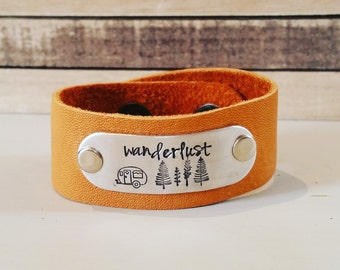 Handstamped women's leather cuff-leather bracelet-graduation-wanderlust-mountains-camper-inspirational-travel-friend