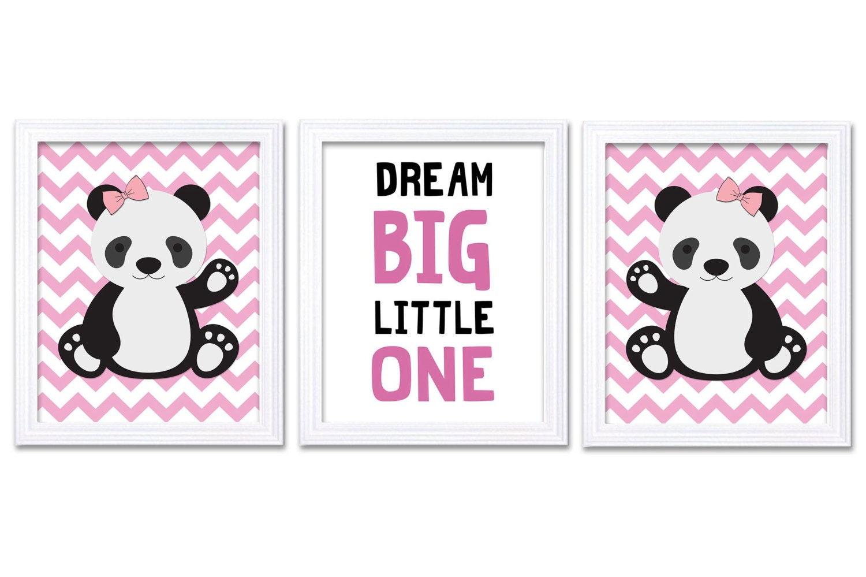 Girl Panda Nursery Art Set of 3 Print Hot Pink Black Dream Big Little One Child Kid Room Nursery Wal
