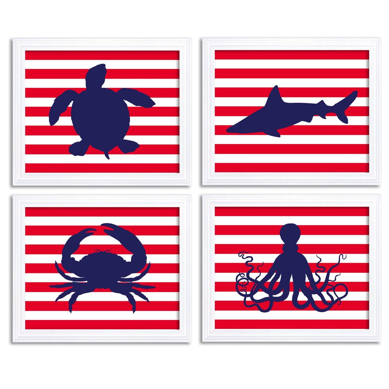Navy Blue Red Nautical Nursery Art Set Of 4 Prints Stripes