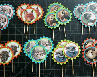 Zootopia cupcake toppers/Zootopia party