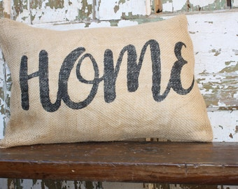 Burlap or Canvas Home Pillow Cover 12x16. Throw Pillow