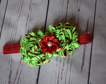 Red and Lime Green Hair Bow Headband