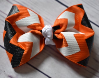 Black Orange White Chevron Hair Bow
