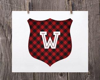 Custom Christmas Printable, Modern Holiday Decor, Personalized Hostess Gift, Custom Monogram Print, Red Buffalo Plaid Rustic Christmas Decor