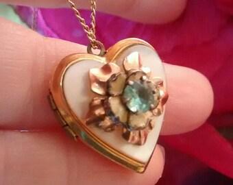 Heart Locket Vintage Necklace Rose Gold Trim
