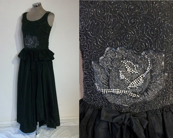 "Exquisite early 1920s evening dress w/heavily beaded 'rose' bodice, chic uneven hemline bust 32"" - 33"""