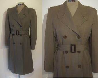 "Ultimate 1940s gabardine belted trench coat bust 34""- 35"" padded shoulders, film noir perfection"