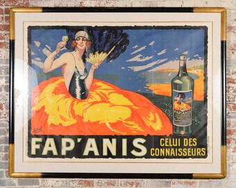 1920s Original Art Deco French Liquor Poster - Professionally framed