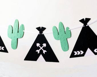 Black Teepee and Mint Green Cactus banner. Photo Prop, Birthday party garland, bunting, baby shower. Boho Tribal Wilderness. Wild One.