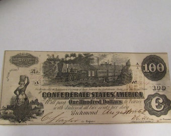 Vintage Civil War Currency Rare Confederate  100 Dollar T39 Note Charleston, Augusta, Columbia