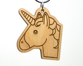 Unicorn Face Emoji Keychain - Wooden Cute Unicorn Emoji Keychain - Unicorn Head Emoticon Engraved Charm - Unicorn Emoji Carved Wood Key Ring