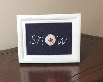 Snowman needle punch and stitchery