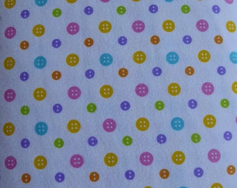 Cotton Flannel Fabric,  RicRac Paddywack~Multicolor Buttons by Henry Glass, Fabric, By the Yard, FL145