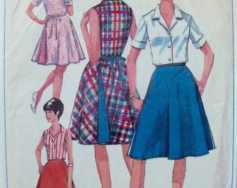 Vintage 1965 Skirt and Blouse Pattern Simplicity 6363 Size 14