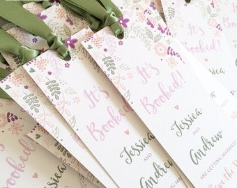 20 x Save the Date Bookmarks, Floral Save the Date Cards, Rustic Bookmark Save the Date (larger quantities available)