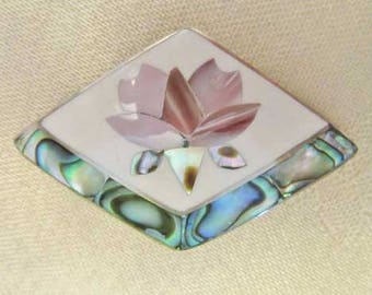 Lovely, Abalone & Mother Of Pearl Flower Pin / Pendant
