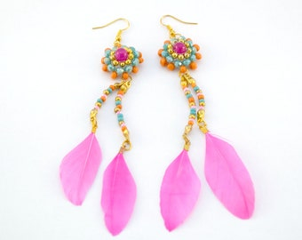 Colorful statement earrings, ibiza style, pink, gold, orange, turquoise, feathers