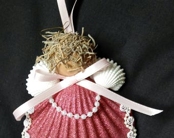 Shell Ornament - Beach Christmas - Shell Angel Ornament - FREE SHIPPING