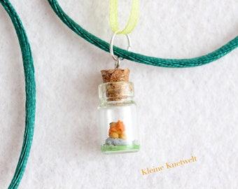 Lion Charm Miniature Glass Bottle Pendant polymer clay jewelry