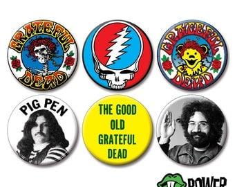 "GRATEFUL DEAD BADGES (2.25"" pinbacks) [pins buttons greatful dead jerry garcia skull pigpen pig pen jam band 60s psychedelic bear bears]"