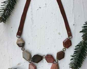 stone and leather necklace // free shipping