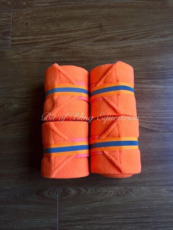 4 Neon Polo Wraps with Reflective Glo Ribbon - Orange or Lime