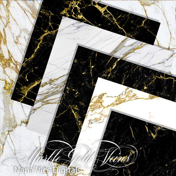 Marble Digital Paper White Black Marble With Gold Veins
