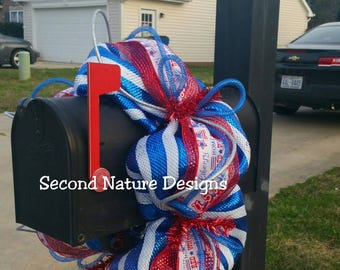 Red, White, & Blue Patriotic Deco Mesh Mailbox Wreath / Mailbox Swag / Mailbox Topper / Patriotic Mailbox Swag