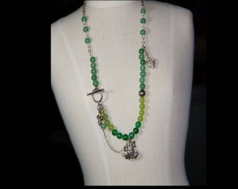 Green chalcedony and Sterling silver necklace.