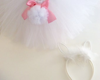 Easter tutu, pink easter tutu,pink easter bunny tutu, bunny headband, pink bunny ears, easter bunny ears, rabbit tutu, rabbit tutu costume