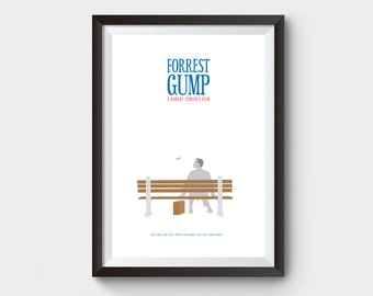 Forrest Gump -  movie, film poster, minimalist movie poster, tom hanks, type print, inspirational poster, Robert Zemeckist, forrest gump