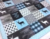 Personalized Baby Blanket, Blue Minky blanket deer arrows plaid lumberjack blanket, baby shower gift, boy blanket, birth gift blanket
