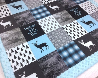Personalized Baby Blanket, Blue Minky blanket deer arrows plaid lumberjack blanket, baby shower gift, boy blanket, birth gift blanket